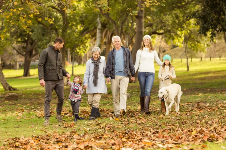 multigenerational family walking during travel and vacation
