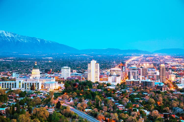 city view of salt lake city utah