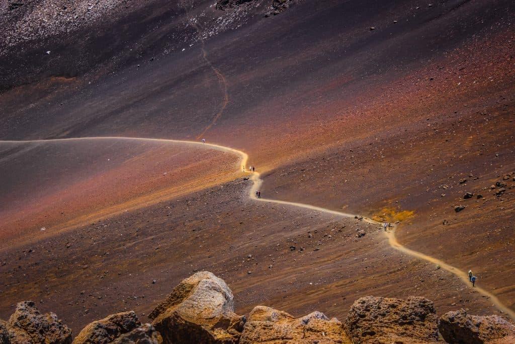 view of hiking trails at Haleakalā National Park