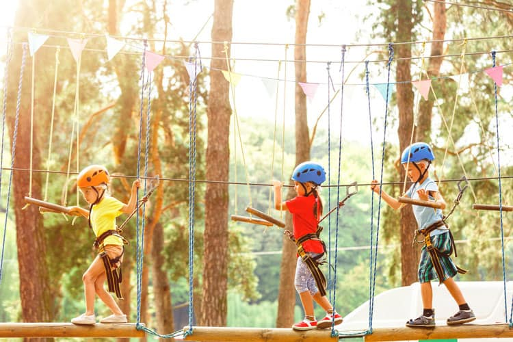 children on ropes course at heavenly resort