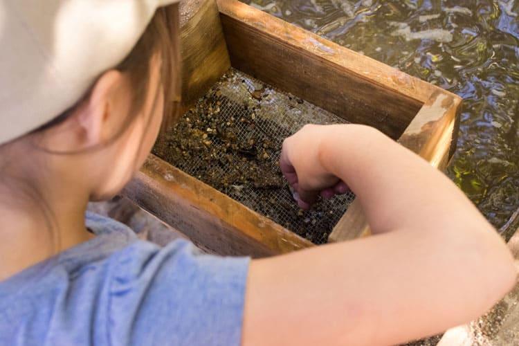 child panning for gemstones at heavenly resort